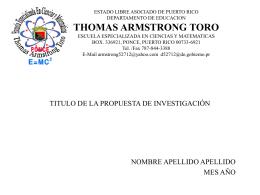 TITULO DE LA PROPUESTA DE INVESTIGACIÓN