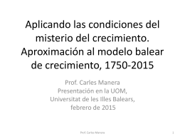 El modelo histórico de crecimiento en Baleares,