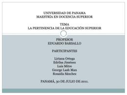 UNIVERSIDAD DE PANAMA MAESTRÍA EN DOCENCIA