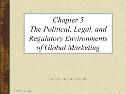 Chapter 5 The Political, Legal, and Regulatory