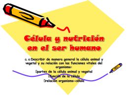 Célula y nutrición en el ser humano