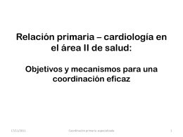 Relación primaria – especializada en el area II