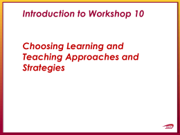 Introduction to Workshop 10
