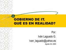 GOBIERNO DE IT. ALINEANDO TECNOLOGÍAS DE