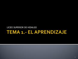 TEMA 5. EL APRENDIZAJE - Psicología Liceo. |