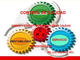 UNIDAD I: CONCEPTOS BÁSICOS DE LA CALIDAD