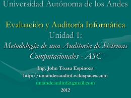 Evaluación y Auditoría Informática Unidad 1: