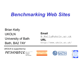 Benchmarking Web Sites - Vrije Universiteit