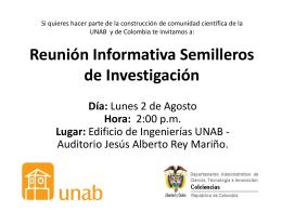 Reunión Informativa Semilleros de Investigación