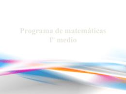 Programa de matemáticas Iº medio
