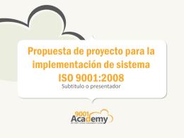 Propuesta de proyecto para la implementación de