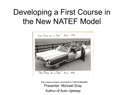 Developing a First Course in the New NATEF Model