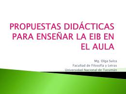 PROPUESTAS DIDÁCTICAS PARA ENSEÑAR LA EIB EN EL