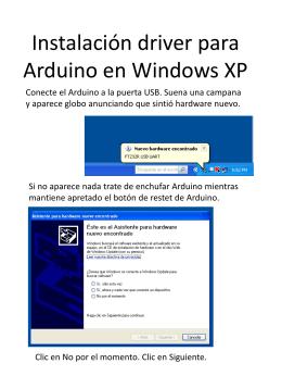 Instalación driver para Arduino en Windows XP