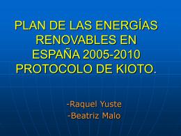 PLAN DE LAS ENERGÍAS RENOBABLES EN ESPAÑA