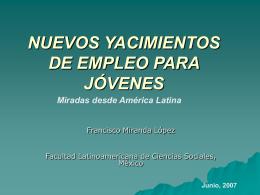 NUEVOS YACIMIENTOS DE EMPLEO PARA JÓVENES