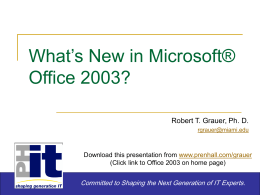What's New in Microsoft® Office 2003?