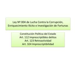 Ley Nº 004 de Lucha Contra la Corrupción,