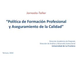 PROPUESTA POLÍTICA DE FORMACIÓN PROFESIONAL