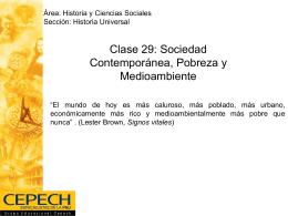 Clase 29: Sociedad Contemporánea, Pobreza y
