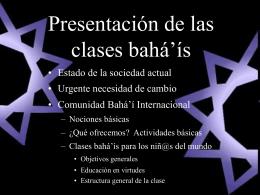 Presentación de las clases bahá'ís
