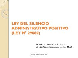 LEY DEL SILENCIO ADMINISTRATIVO POSITIVO (LEY N°