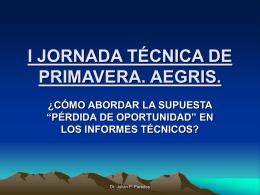 I JORNADA TÉCNICA DE PRIMAVERA. AEGRIS.