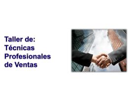 "CURSO TALLER ""TÉCNICAS PROFESIONALES DE VENTAS"""