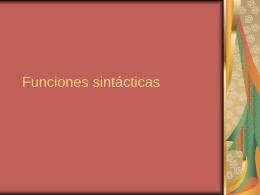 Funciones sintácticas