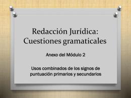 Redacción Jurídica: Cuestiones gramaticales