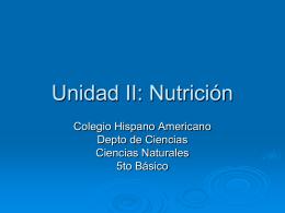 Unidad II: Nutrición