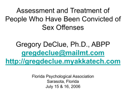 Assessment and Treatment of Sex Offenders Gregory