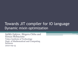 Towards JIT compiler for IO language