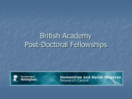 British Academy Post-Doctoral Fellowships: