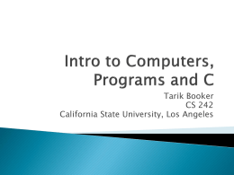 Intro to Programs and C