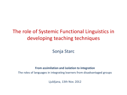 The role of Systemic Functional Linguistics in