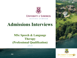 Admissions Interviews - University of Limerick