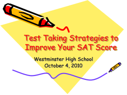 Test Taking Strategies to Improve Your SAT Score