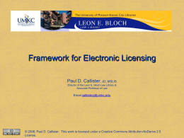 Framework for Electronic Licensing