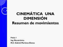 CINEMÁTICA UNA DIMENSIÓN Resumen de movimientos