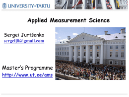 Applied Measurement Science