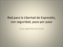 Red para la Libertad de Expresión, son seguridad,