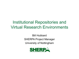 Institutional Repositories and Virtual Research