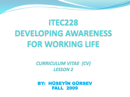 ITEC228 DEVELOPING AWARENESS FOR WORKING LIFE