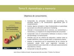 Tema 9. Aprendizaje, memoria y criterios de