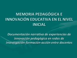 MEMORIA PEDAGÓGICA E INNOVACIÓN EDUCATIVA EN EL