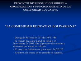 PROYECTO DE RESOLUCIÓN SOBRE LA ORGANIZACIÓN Y