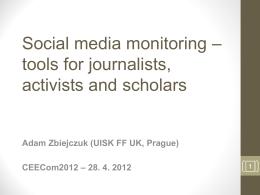 Monitoring sociálních médií ve firemní praxi -
