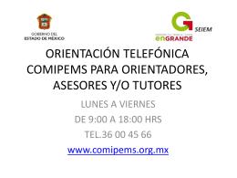 ORIENTACIÓN TELEFÓNICA COMIPEMS