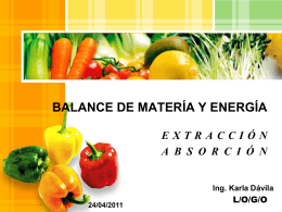 BALANCE DE MATERÍA Y ENERGÍA